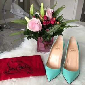 Christian Louboutin Pigalle Follies Teal 100mm
